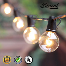 Binval 25/50/100 Clear Globe Patio String Lights G40 Bulbs Handling String light UL for Outdoor Indoor Party Wedding Garden(China)