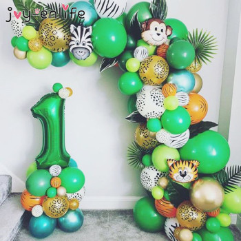Jungle Safari Party Balloon Arch Kit Tropical Palm Leaf Green Latex Balloons Birthday Party Decoration Kids Wedding Party Supply jungle party green latex balloons woodland animal palm leaf foil balloons safari party baloons birthday party decor baby shower