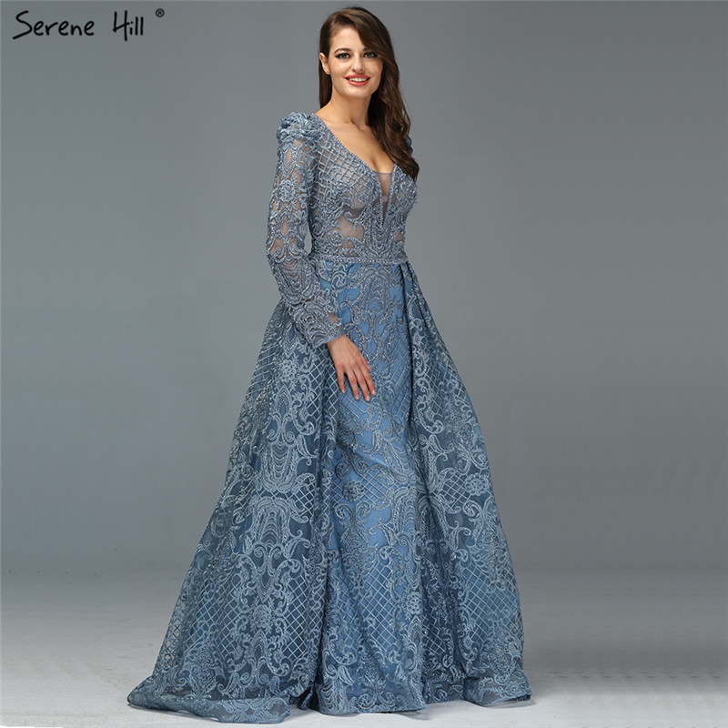 Dubai azul luxo mangas compridas vestidos de noite 2019 com decote em v flores artesanais cristal sexy vestidos de noite plus size la70159