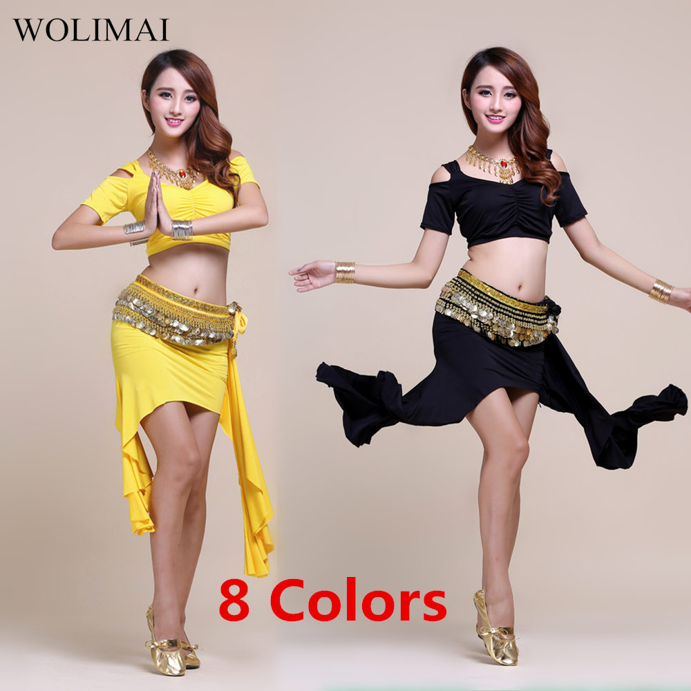 Belly Dance Dress Top Belt Skirt For Women Belly Dance Costumes Practice Wear Stage Performance Bollywood Costume Women 8 Colors