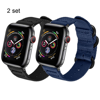 2pcs bands for apple watch 6 se Woven Nylon band 44mm 40mm series 5 4 for iwatch 3 42mm 38mm strap Sport Wrist men women correa