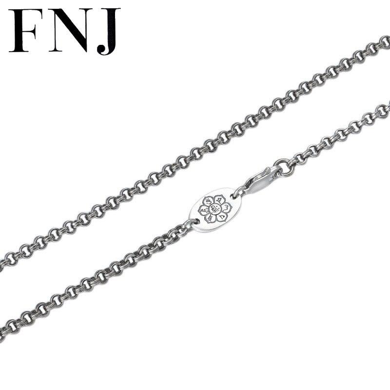 FNJ звено цепи ожерелье 925 серебро 3 мм 55 см 65 см тонкий оригинальный S925 серебро женские мужские ожерелья для изготовления ювелирных изделий