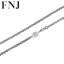 FNJ Link Chain Necklace 925 Silver 3mm 55cm 65cm Fine Original S925 Silver Women Men Necklaces for Jewelry Making(China)
