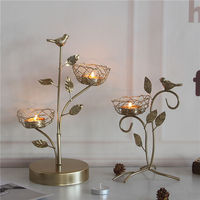 Metal Nordic Golden Bird Aromatherapy Candleholder Gold Home Decoration Wedding Candelabra INS Luxury Candle Stand with Birds