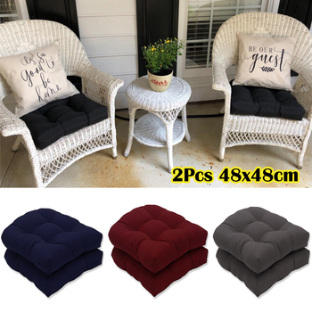 2Pcs Garden Furniture Patio Wicker Outdoor Chair Cushions Fit Seat Pads Replacement Cushions 48x48cm Cushion Pillow Decorativos image