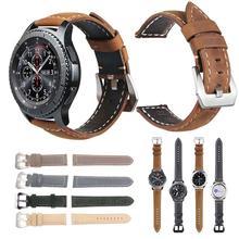 22 мм винтажный ремешок из натуральной кожи ремешок для часов Браслет замена для samsung S3/Galaxy Watch 46 мм для huawei GT 46 мм для