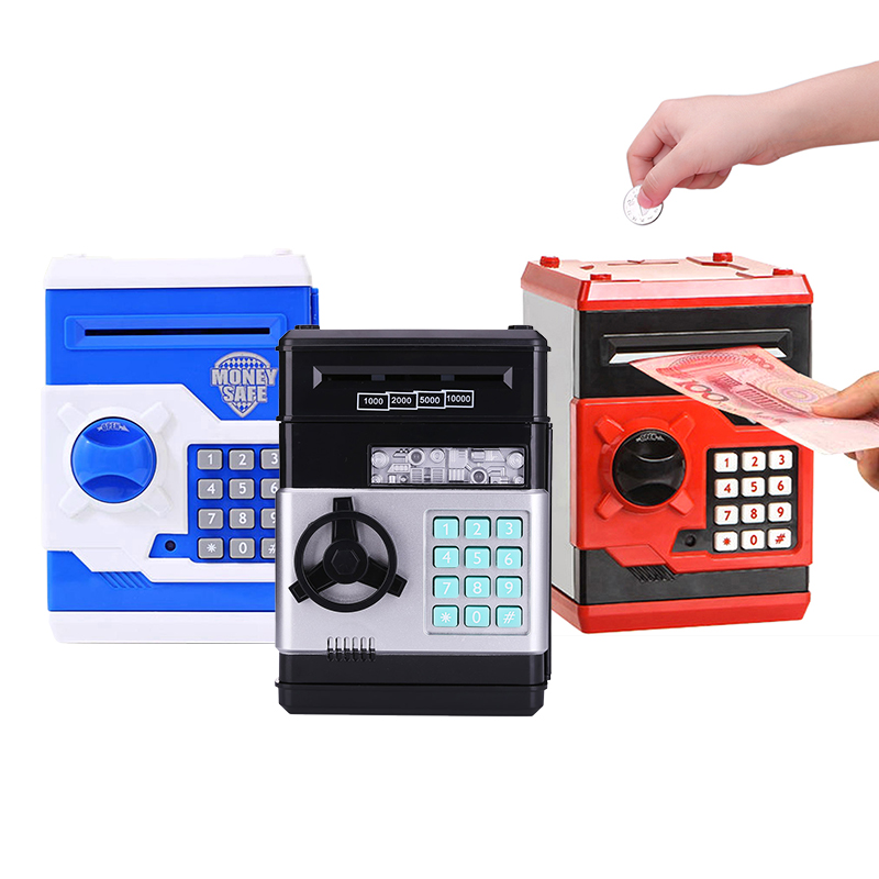 Electronic Piggy Bank ATM Password Money Box Cash Coins ATM Bank Safe Box Auto Scroll Paper Banknote For Kids Saving Money Box