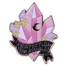 Proteção contra idiotas cristal cluster esmalte pino lua bruxa mágica quartzo pastel flor broche