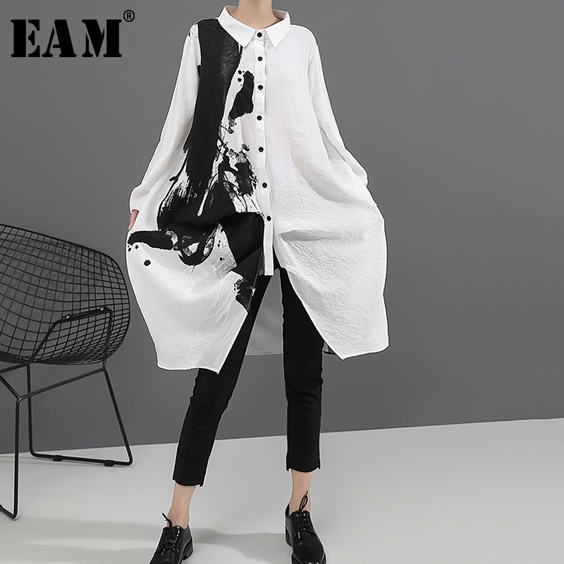 [EAM] Women Black White Print Big Size Oversize Dress New Lapel Long Sleeve Loose Fit Fashion Tide Spring Autumn 2020 1A923