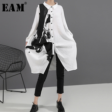 [EAM] Women Black White Print Big Size Oversize Dress New Lapel Long Sleeve Loose Fit Fashion Tide Spring Autumn 2021 1A923