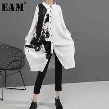 [EAM] Mulheres Black White Imprimir Tamanho Grande Vestido Oversize Nova Lapela Manga Comprida Soltas Fit Maré de Moda Primavera Outono 2020 1A923