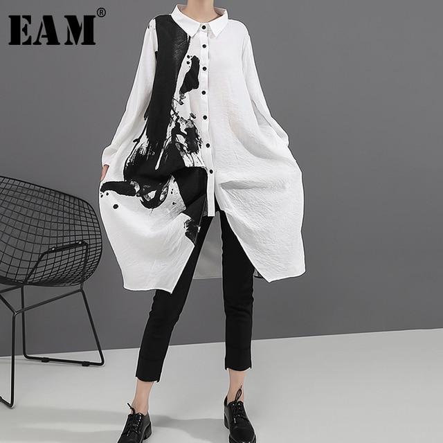 [EAM] النساء أسود أبيض طباعة كبيرة حجم اللباس المعتاد جديد التلبيب كم طويل فضفاض صالح الأزياء المد الربيع الخريف 2020 1A923