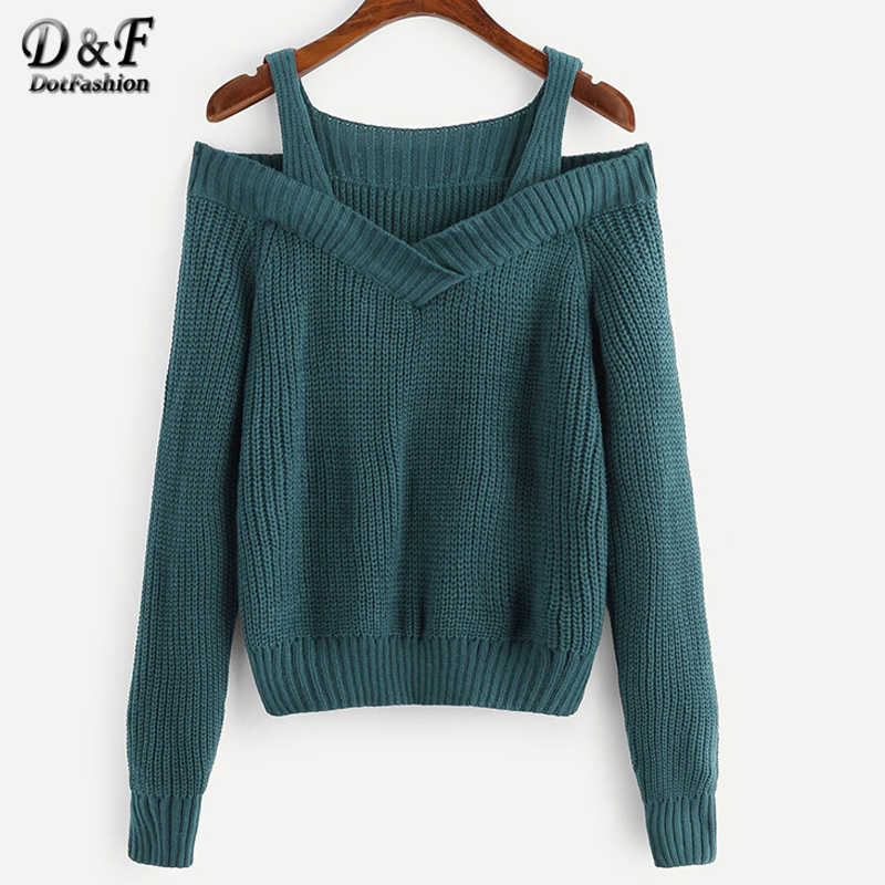 Dotfashion Casual Green Cold Shoulder Trim Sweater Women 2019 Autumn V Neck Basic Sweaters Ladies Solid Straps Top