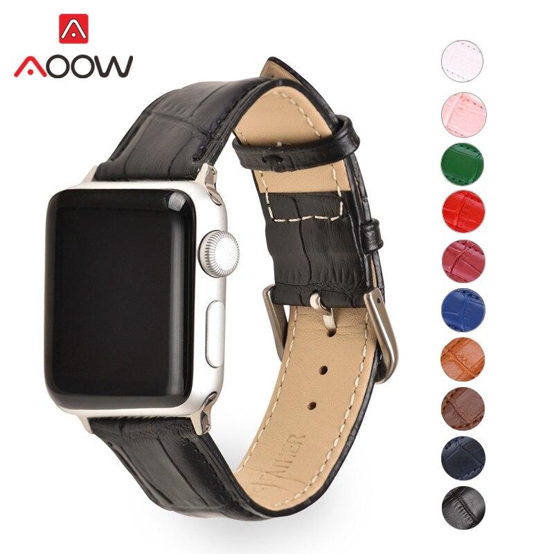 Crocodile Pattern Leather Watchband For Apple Watch 4 5 38mm 42mm 40mm 44mm Men Women Bracelet Strap Band For Iwatch 1 2 3 Green