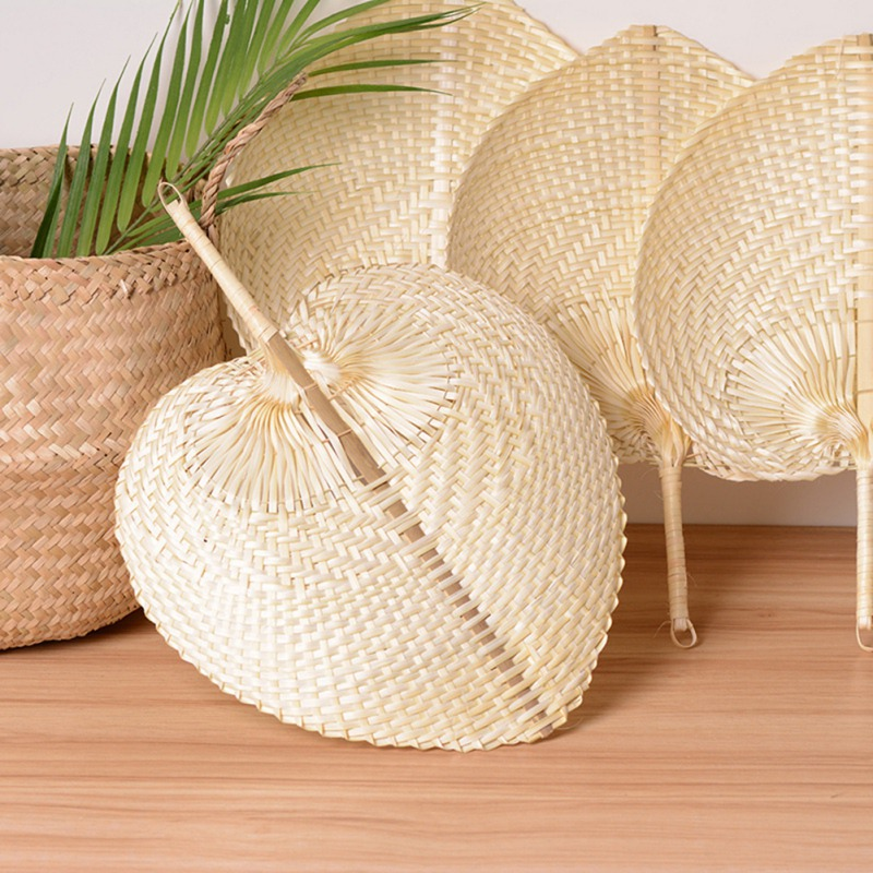 2 Natural Hand Fan Palm leaft Weaven Wicker Handcraft Chinese style Summer Retro