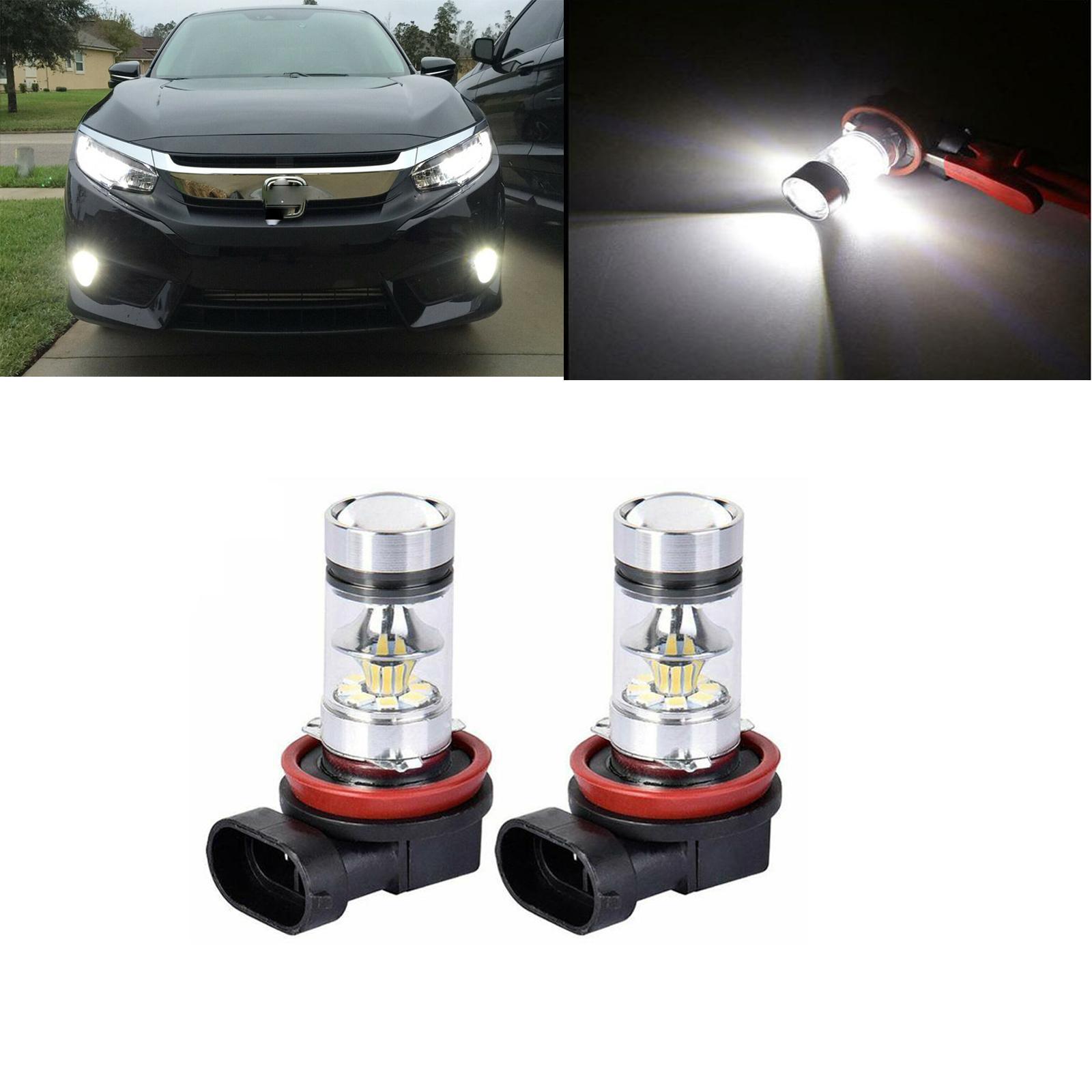 2X H8 H11 противотумансветильник, линзы проектора, белые светодиодные лампы для Honda Accord Civic 2006-2016 2017 2018 2019