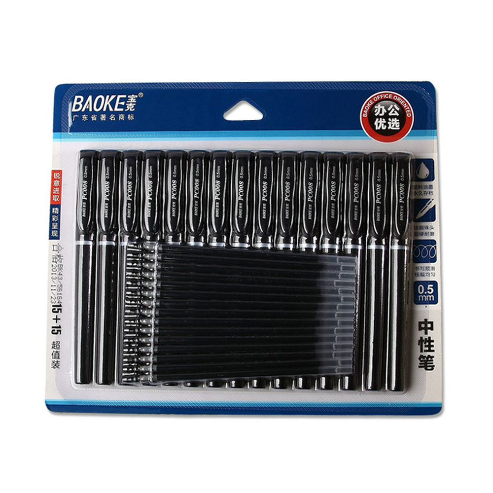30PCS BAOKE PC008 Gel Pen 0.5mm 15PEN + 15REFILL Black Signing Pen Examination Pen Cute Stationary