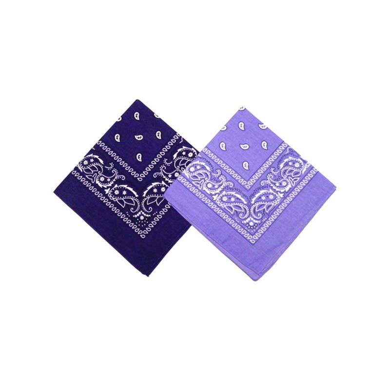 Square Scarf Wristband Headbands Cashew Cotton-Bandana Paisley Purple Hekchief Women