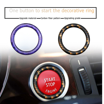 Carbon Fiber Engine Start Stop Button Ring Ignition Switch Trim for BMW E87 E90 E60 1/3/5 Series Car Styling Accessories image