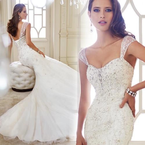 Romantic New Fashionable Beading Vestido De Novia Casamento Bridal Gown Vintage Sexy Mermaid Wedding Dress 2017 Free Shipping