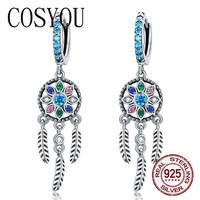 COSYOU 2019 Bohemia Dream Catcher Hanging Drop Earrings for Women Boho Style 925 Sterling Silver Fashion Jewelry Gifts SCE713