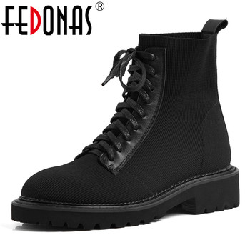 FEDONAS Autumn Winter Classic Women Ankle Boots Female Warm Cross-tied Platform Riding Boots Round Toe Casual Baisc Shoes Woman