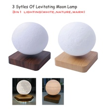 Led Light Lamp New Design Creative 3D Magnetic Levitating Moon Lamp Rotating Night Light Led For Home Decoration Holiday Gift