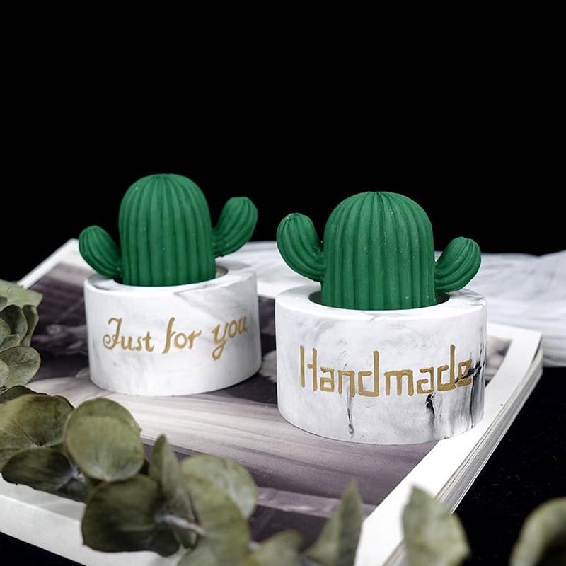1pc Round Cactus Flowerpot Concrete Molds Succulent Plants Cement Mini Pot Silicone Mold Creative Plaster Clay Mould