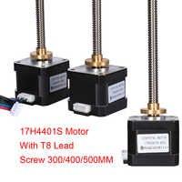 Tornillo de Motor paso a paso Nema17 17H4401S 42 Motor T8 tornillo de plomo 300/400/500MM Motor Nema 17 + Cable de tuerca de cobre 8MM para piezas de impresora 3D
