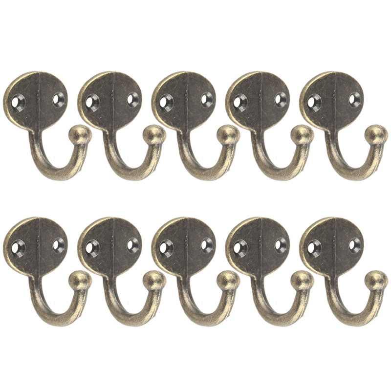 10 Pcs Wall Door Metal Antique Hooks Hanger For Key Clothes Coat Hat Towel Pack