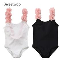 цены на Girls Floral One Piece Swimsuit New Summer Children Backless Swimsuit One Piece Swimwear Bathing Suit Swimming Costume Beachwear  в интернет-магазинах