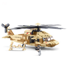 439PCS Military Air Force Black Hawk Rescue Helicopter Building Block Figures Compatible City Military Educational Toys for Kids(China)