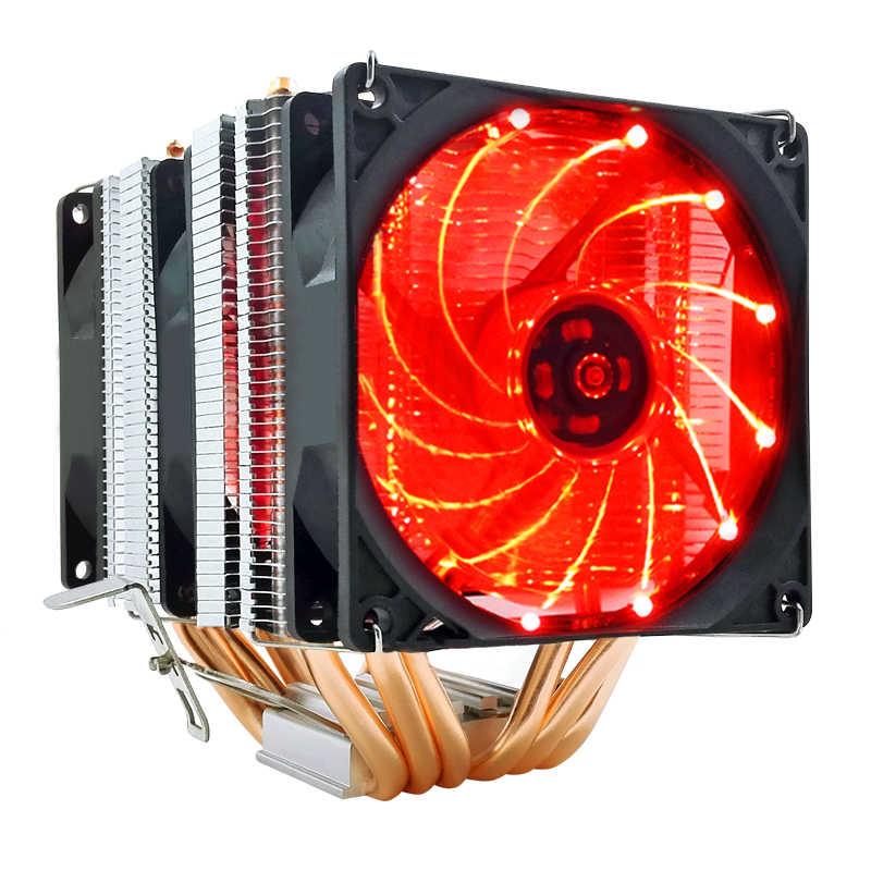 PUPAZZO di NEVE 6 Tubi di Calore CPU Cooler RGB 90 millimetri PWM 4Pin PC tranquillo per Intel LGA 775 1150 1151 1155 1366 AMD AM2 AM3 AM4 Ventola di Raffreddamento della CPU