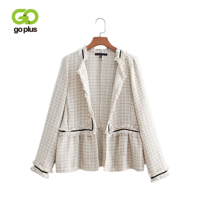 GOPLUS Tweed Jacket Tassel Wool Jackets Coat for Women 2019 New Spring Turn Down Collar Female Patchwork Overcoat C7806
