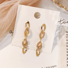 2019 New fashion earrings Korean Rhinestone Long Earrings Temperament Personality Women Exaggerated Jewelry Cubic Zirconia Gift