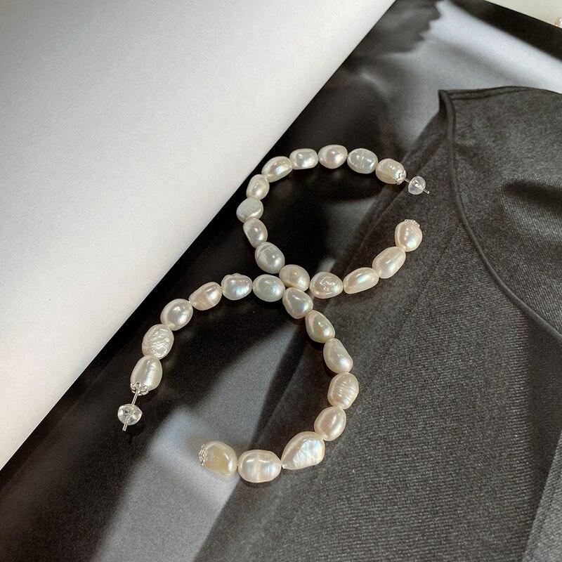LouLeur Baroque Shaped Pearl 925 Silver Stud Earrings Elegant Korean Style Minimalist Earrings For Women Fine Jewelry 2020 New