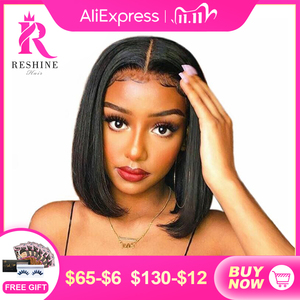Image 1 - Perruque Lace frontal lisse indienne ressine Hair, cheveux humains, avec Closure 4x4, pre plucked avec Baby HAIR, 13x4