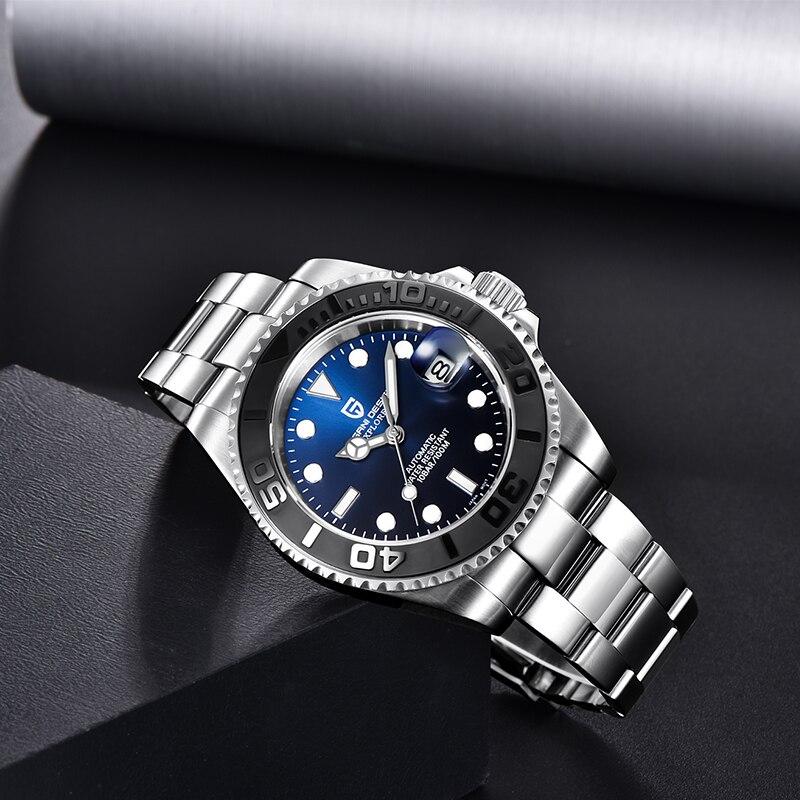 Reloj de diseño PAGANI para hombres reloj mecánico automático de buceo de acero inoxidable resistente al agua 100M de moda de negocios reloj Masculino - 3