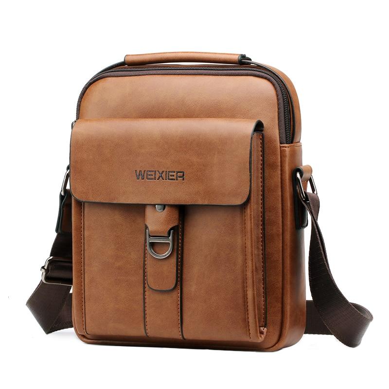 Fashion Men Shoulder Bags Leather Small Handbag For Man Briefcase Retro Crossbody Bag Male Pu Leather Brief Travel Flap