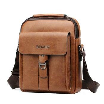 Fashion Men Shoulder Bags Leather Small Handbag for Man Briefcase Retro Crossbody Bag Male Pu Brief Travel Flap