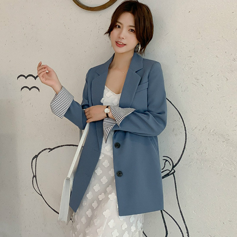 Casual Autumn New Long-sleeved Suit Jacket Women's 2019 New Fashion Slim Solid Color Office Blazer Women's Suit