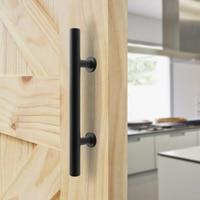 Hardware Handle Sliding Door Barn Huts Screw Pull And Push Cast Iron Matte Black Attachment