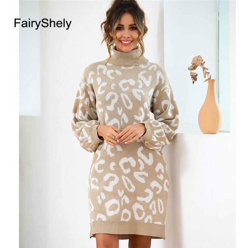 Fairyshely 2019 Autumn Winter High Collar Long-sleeved Knit Pullover Sweater Women Turtleneck Long Sleeved Mini Dress Pullover