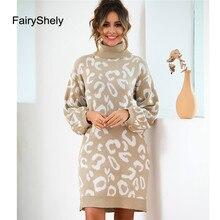 Fairyshely 2019 Autumn Winter High Collar Long-sleeved Knit Pullover Sweater Women Turtleneck Long Sleeved Mini Dress