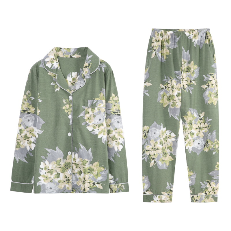 Small Flower Printing Long Pants Pajamas Women's Autumn and Winter Cotton Long-Sleeved Thin Cardigan Loose Plus-sized Nightwear