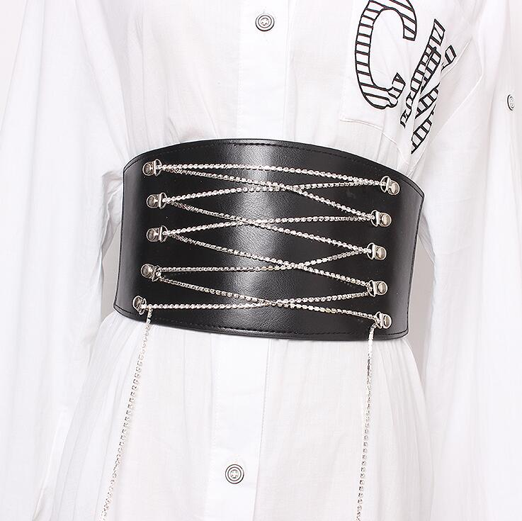 Women's Runway Fashion Diamonds Pu Leather Elastic Cummerbunds Female Dress Corsets Waistband Belts Decoration Wide Belt R1922