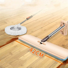 Big Size 42*12cm Flat Mop Floor 360 Degree Handle Mop for Home Kitchen Tiles Cleaning Spin Mop Rotating Superfine Fiber Swabs(China)