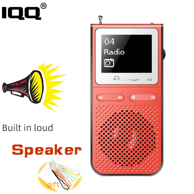 IQQ Mp3 Player With Lound Speak and 8G Can Playing 100Hours Built in FM Radio Support Expand Up to 128G Portable Player