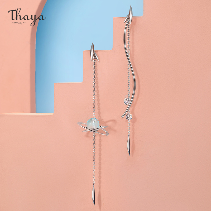 Thaya 100% Real Solid 925 Sterling Silver Willow Ear Drop Dangle Cryst Earring Charms сережкиFor Women Fashion Gift Fine Jewelry