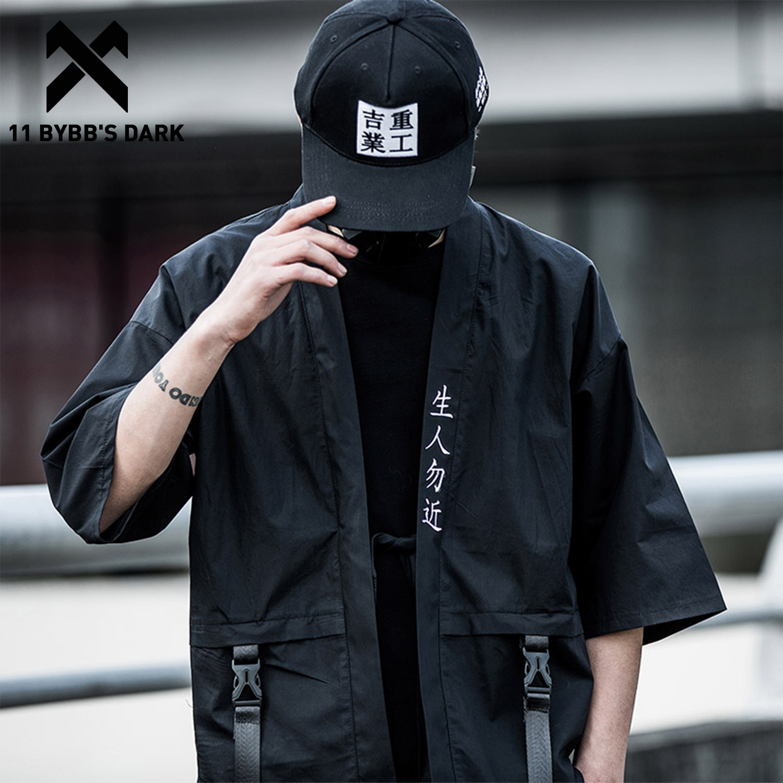 11 BYBB'S DARK Harajuku Open Stitch Jackets Men Hip Hop Thin Coats 2020 Ribbons Japanese Style Male Seven-cent Sleeve Streetwear